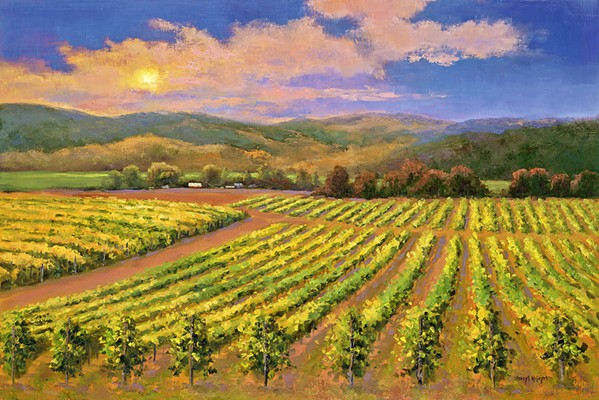 LANDSCAPES GALORE Sheryl Knight's Sunset Moment features the classic rows of grape vines that the Central Coast is famous for. The piece is on display at her Park Street Gallery exhibition through Oct. 31. - IMAGE COURTESY OF SHERYL KNIGHT