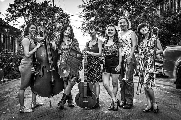 GRRL POWER The all-female New Orleans-based Shake 'Em Up Jazz Band plays all three days of the Jazz Jubilee by the Sea music festival, Oct. 25 to 27, in Pismo Beach and Arroyo Grande. - PHOTO COURTESY OF SHAKE 'EM UP JAZZ BAND