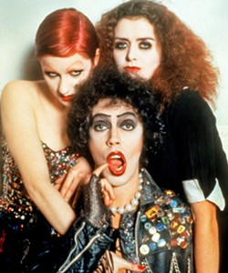 DO THE TIME WARP AGAIN Dr. Frank-N-Furter (Tim Curry, center), his groupie Columbia (Nell Campbell, left), and his domestic Magenta (Patricia Quinn) have a mad, sexy time in the cult classick, The Rocky Horror Picture Show, screening at the SLO Brew Rock Event Center and Downtown Centre. - PHOTO COURTESY OF TWENTIETH CENTURY FOX