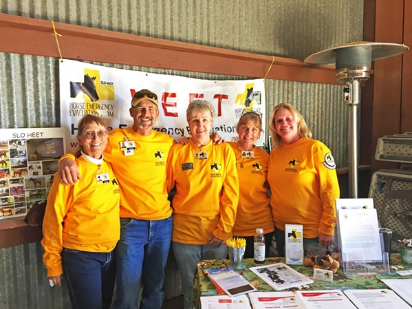 PREPARDNESS SLO HEET members (from left to right) Dawn, Perrine, Mark Granaroli, Julie Monser, Heidi Goetz, and Karen Jones are all trained volunteers who lend their time to evacuate and shelter horses in emergency situations. - PHOTO COURTESY OF SLO HEET