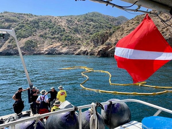 ON THE SCENE SLO Sheriff's dive team members spent three days at the Conception boat disaster site last month, recovering three victims, including the final missing victim, 16-year-old Berenice Felipe Alvarez. - PHOTO COURTESY OF THE SLO COUNTY SHERIFF'S OFFICE