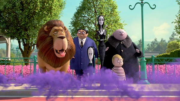 NOT CREEPY AND KOOKY ENOUGH (Left to right) Kitty Kat, Gomez (voiced by Oscar Isaac), Wednesday (voiced by Chloë Grace Moretz), Morticia (voiced by Charlize Theron), Pugsley (voiced by Finn Wolfhard), and Uncle Fester (voiced by Nick Kroll) watch as their relatives arrive for a celebration. - PHOTOS COURTESY OF METRO-GOLDWYN-MAYER