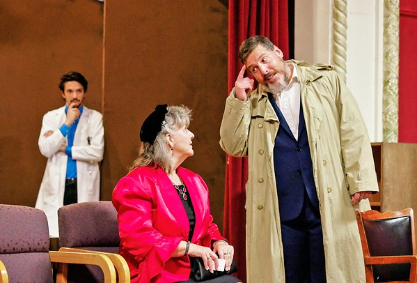 FRIENDLY ELWOOD Elwood P. Dowd (Hank Wethington) shares a moment with Betty Chumley (Mary Alvarado), the wife of Dr. Chumley (Christopher Law), who runs a sanitarium. The younger doctor at the sanitarium, Dr. Sanderson (Landen Scott), looks on. - PHOTOS COURTESY OF IAIN MACADAM