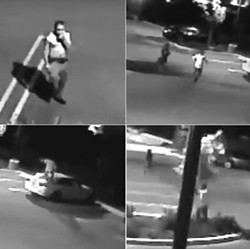 PUNK IN DRUBLIC A vandalism suspect can be seen entering a business parking lot, arguing with his female companion, smashing the window of a BMW, and trying to uproot a small tree. - IMAGES COURTESY OF QUAGLINO PROPERTIES