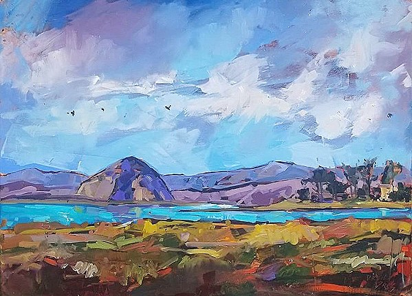 A DIFFERENT ANGLE Drew Davis' colorful work, Sweet Springs, depicts Morro Rock from the perspective of Sweet Springs Nature Preserve in Los Osos. - IMAGE COURTESY OF DREW DAVIS