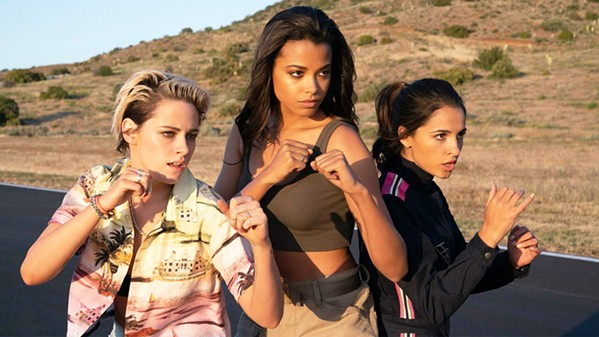 BADASSES A trio of crime-fighting women—(left to right) Sabina Wilson (Kristen Stewart), Jane Kano (Ella Balinska), and Elena Houghlin (Naomi Scott)—must save humanity from a dangerous new technology, in Charlie's Angels. - PHOTO COURTESY OF COLUMBIA PICTURES