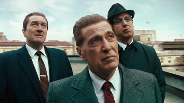 ACTORS' ACTORS Robert De Niro stars as Frank Sheeran, Al Pacino as Jimmy Hoffa, and Steve Van Zandt as Jerry Vale, in Martin Scorsese's epic crime drama, The Irishman, screening exclusively at The Palm Theatre. - PHOTO COURTESY OF STX ENTERTAINMENT