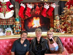 PASSING THE TINSLE After years of decorating the Madonna Inn herself, Phyllis Madonna (center) passed the torch to Amanda Rich (right), who has been coordinating it mostly on her own for about a decade. - PHOTO COURTESY OF AMANDA RICH