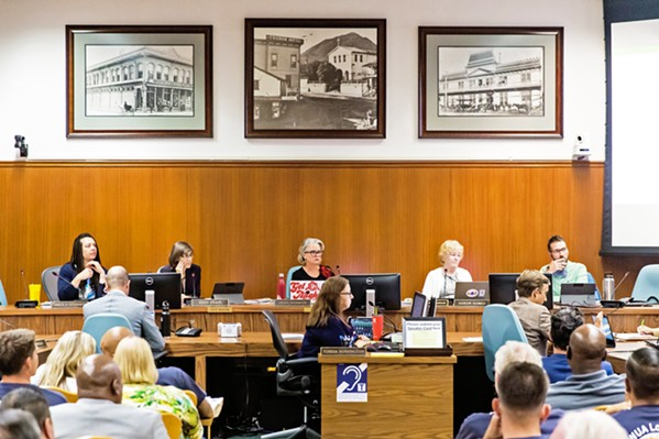 EMERGENCY RULES The San Luis Obispo City Council (pictured) passed emergency tenant protections on Nov. 26. They mirror a new state law that doesn't take effect until Jan. 1. - FILE PHOTO