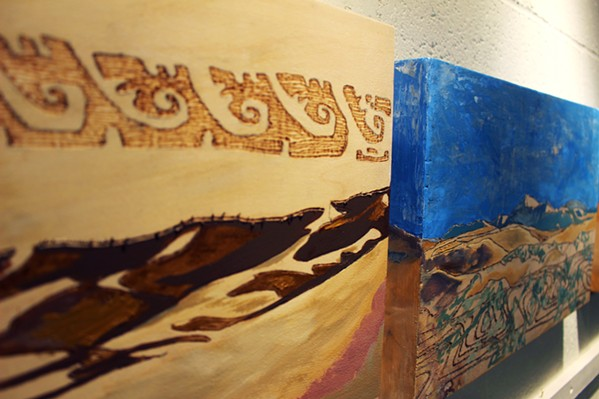 UNIQUE MEDIUM Quintero's wood panels replace the typical canvas for his abstract works. - PHOTOS COURTESY OF JOELL FETCHO