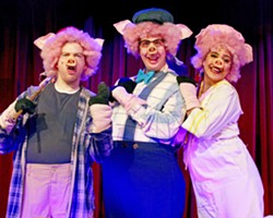 """BACON BITS Mike Fiore, Ben Abbott, and Sydni Abenido (left to right) play the titular hammy heroes in """"The Three Little Pigs,"""" a hilarious operetta that follows A Christmas Carol. - PHOTOS COURTESY OF DAN SCHULTZ"""