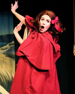 """LIZZO RED RIDING HOOD Little Red Riding Hood (Jocelyn Lonquist) chews the scenery while singing a spoof of Lizzo's """"Truth Hurts,"""" in """"The Three Little Pigs."""" - PHOTOS COURTESY OF DAN SCHULTZ"""