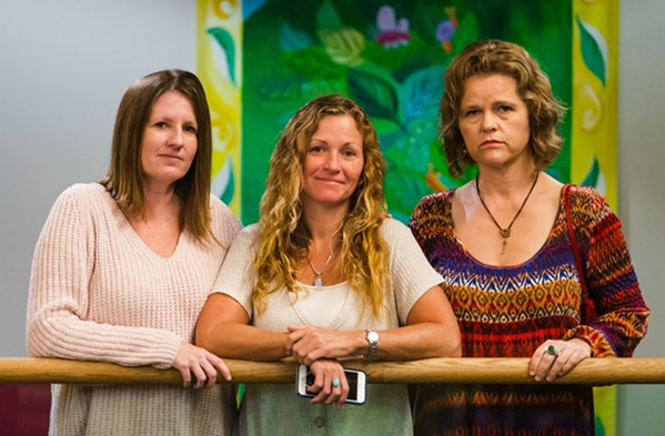 HEALING TOGETHER From left to right: Jennifer Byon, Tanya Walker, and Becky Heart claim to have been stalked, harassed, and abused by Josiah Johnstone, and they attended his hearing on Oct. 17, 2019. - FILE PHOTO BY JAYSON MELLOM