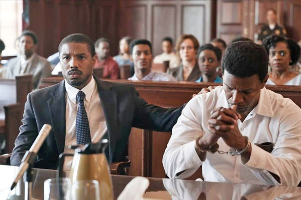 RACE AND JUSTICE Just Mercy tells the true story of attorney Bryan Stevenson (Michael B. Jordan, left) who works to free death row convict Walter McMillian (Jamie Foxx, right), who in 1987 was sentenced to die for a murder he didn't commit. - PHOTO COURTESY OF ENDEAVOR CONTENT