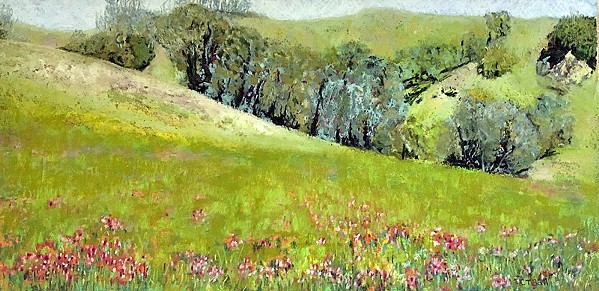 NATURAL DETAIL Carol Timson Ball's Pretty in Pink depicts a verdant hillside with exceptional attention to floral details. - PHOTO COURTESY OF CAROL TIMSON BALL