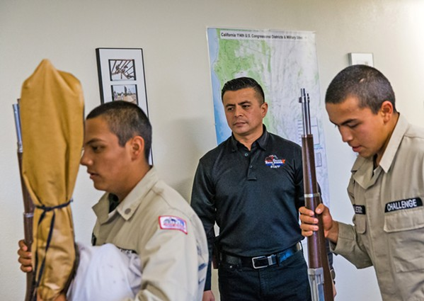 INSPIRE OTHERS Sgt. First Class Angel Salcido (middle) was inspired to work for the Grizzly Youth Academy after mentoring his nephew who was a cadet in Class No. 22. - PHOTOS BY JAYSON MELLOM