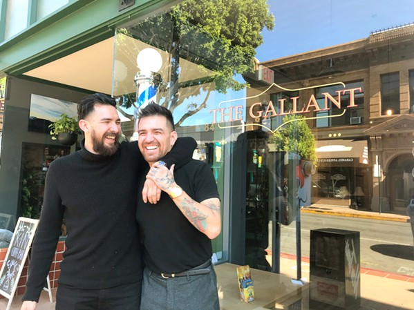 OWNERS AND BROTHERS Though both brothers own Kin Coffee Bar, Julian Contreras (left) runs the coffee house next door to his brother Christian Contreras' (right) barber shop. So if you see these two wrestling over the Higuera sidewalk, don't panic—they're great friends. - PHOTO COURTESY OF JULIAN CONTRERAS