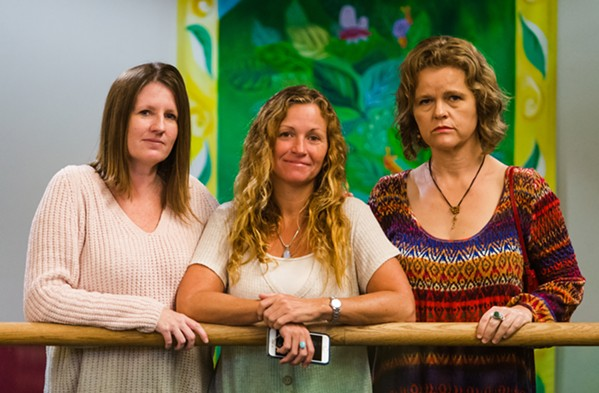 TOGETHER From left to right: Jennifer Byon, Tanya Walker, and Becky Heart after Josiah Johnstone's hearing on Oct. 17, 2019. These women were among those who helped bring to light Johnstone's abuse; on Jan. 28, he was sentenced to serve four years and eight months in state prison. - FILE PHOTO BY JAYSON MELLOM