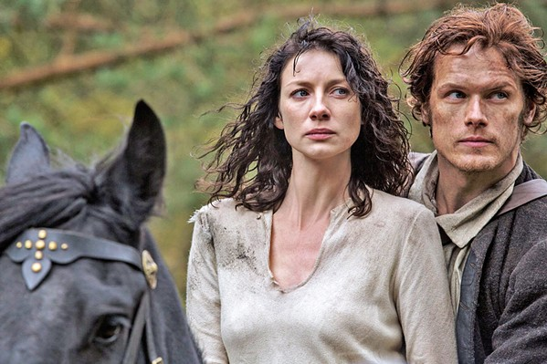 TIME TRAVELER Claire Randall (Caitriona Balfe), an English combat nurse from 1945, travels back in time to 1743 Scotland, where she falls in love with clansman Jamie Fraser (Sam Heughan), in the Starz series Outlander. - PHOTO COURTESY OF TALL SHIP PRODUCTIONS