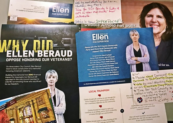 MAILERS GALORE The race for 5th District San Luis Obispo County supervisor is in full swing, as numerous mailers and letters hit mailboxes ahead of the March 3 primary. - PHOTO BY PETER JOHNSON