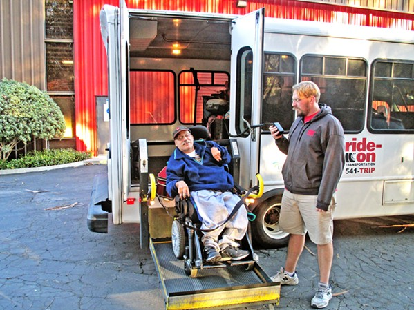 TRANSPORT FOR ALL With a fleet of more than 90 vans, buses, and wheelchair-accessible vehicles, Ride-On Transportation provides roughly 299,000 rides a year and runs a number programs for low-income individuals, seniors, veterans, individuals with disabilities, and the general public. - PHOTO COURTESY OF MARK SHAFFER