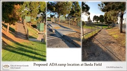GETTING COMPLIANT While there are ADA parking spaces at the entrance of Ikea Field in the Soto Sports Complex, the path leading to the field is degraded asphalt not up to ADA code. Arroyo Grande plans to change that with its 2020 CDBG funds.   - PHOTO COURTESY OF WHITNEY MCDONALD