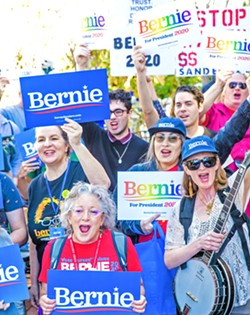 """ENERGIZED About 75 locals showed up to a """"Bernie Barnstorm"""" on Feb. 16 in downtown SLO to get out of the vote for presidential candidate Sen. Bernie Sanders (D-Vermont) ahead of March 3's primary election. - PHOTOS BY JAYSON MELLOM"""