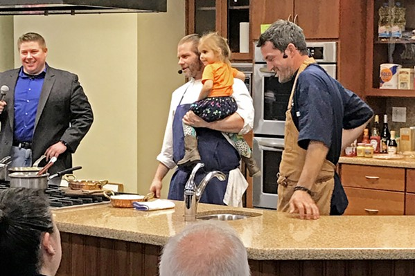 LIL' RASCAL Chef Julian Asseo's new 4-month-old French restaurant, Les Petites Canailles on Spring Street in Paso, translates to Little Rascals. Holding one of his own little rascals, chef Asseo's inspiration for naming his place is right there in his fatherly arms. - PHOTOS BY BETH GIUFFRE