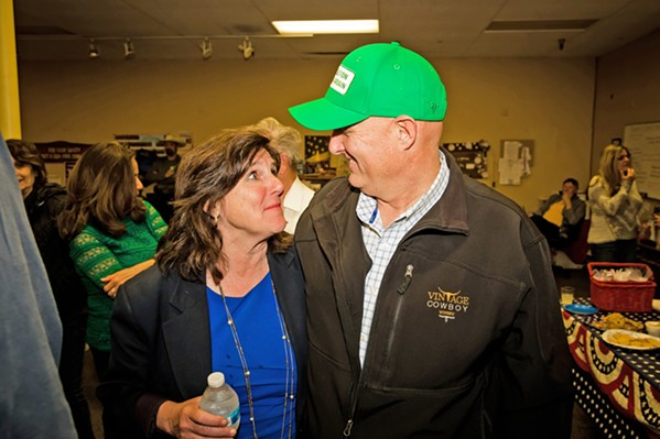 SIGHS OF RELIEF San Luis Obispo County 5th District Supervisor Debbie Arnold (left) and 1st District Supervisor John Peschong celebrate early leads over their election opponents on March 3 at Republican Party headquarters in Atascadero. - PHOTO BY JAYSON MELLOM
