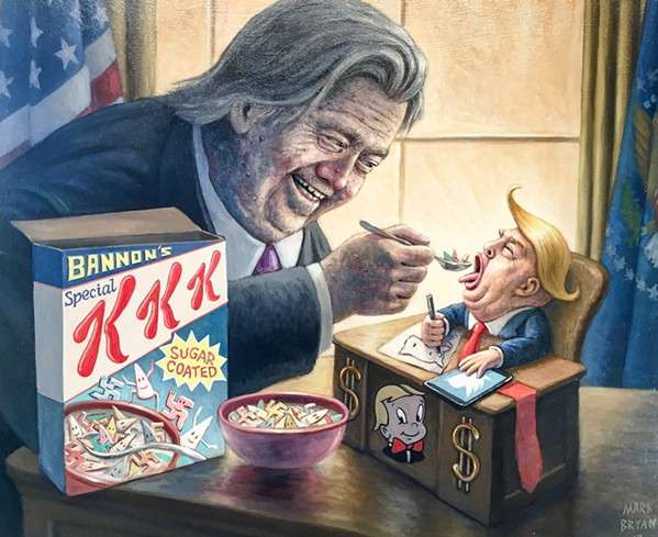 IRREVERENT Mark Bryan's political satirical oil painting, Feeding the Baby, depict former White House Chief Strategist Steve Bannon feeding President Donald Trump a spoonful of sugar-coated KKK Cereal with Klan hood-shaped marshmallows. - IMAGES COURTESY OF MARK BRYAN