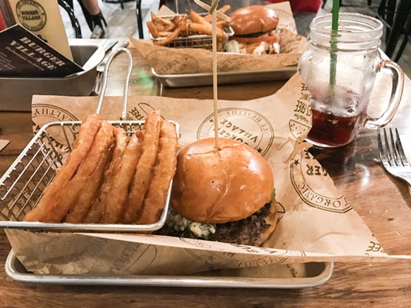 PLAIN JANE Are you wanting your cheeseburger Plain Jane-style? Then you need to try the organic Village Beef Burger/sub onion rings. - PHOTO BY BETH GIUFFRE