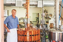 CHEF TURNED DISTILLER You may know of Chef Eric Olson by reputation, as he's been in the biz for 20 years. The master chef takes a culinary approach to making his organic gin, vodka distilled from raw honey, bourbon whiskey, and rum aged in bourbon barrels. - PHOTO CONTRIBUTED BY CENTRAL COAST DISTILLERY