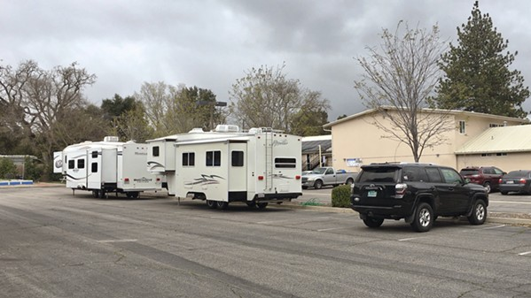 REINFORCEMENTS San Luis Obispo County recently acquired four trailers to help quarantine individuals at homeless shelters who have symptoms of COVID-19. Two are at the El Camino Homeless Organization in Atascadero. - PHOTO COURTESY OF WENDY LEWIS