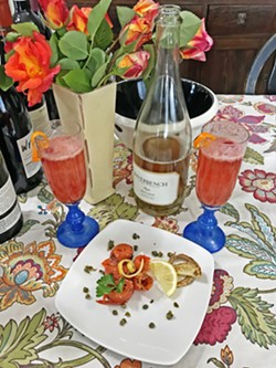 BELLINI WITH SALMON  First stop on this virtual wine adventure: the Riverbench Vineyard & Winery 2017 brut rosé with smoked salmon (as prepared in-house, by my husband, Greg). - PHOTOS BY BETH GIUFFRE