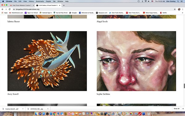 FRESH TALENT Even though the Harold J. Miossi Arts Gallery is closed, Cuesta College's annual student art show is available to peruse online through the college's website. - SCREEN SHOT COURTESY OF THE HAROLD J. MIOSSI ART GALLERY AT CUESTA COLLEGE