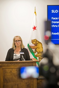 LEADING THE FIGHT SLO County Public Health Officer Penny Borenstein shares the latest on COVID-19 at a press briefing on May 6. - PHOTO BY JAYSON MELLOM
