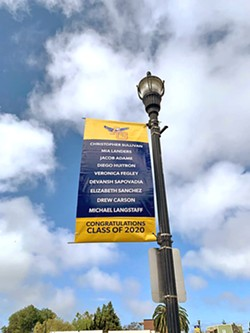 CONGRATS GRADS Arroyo Grande Mayor Caren Ray Russom and a group of donors, graphic designers, and school photographers created and put up nearly 50 customized banners celebrating Arroyo Grande High School's graduating class of 2020 throughout town on May 18. - PHOTO COURTESY OF CAREN RAY RUSSOM