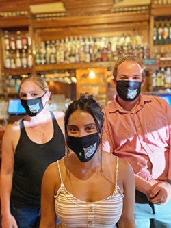 PAPPY'S OPEN FOR BUSINESS Not only is Pappy McGregor's in Paso open now for drinks and dine-in service, the staff is fully prepared, complete with masks bearing Pappy's logo. - PHOTO COURTESY OF DONOVAN SCHMIT