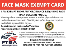 EXEMPT? Fraudulent cards claiming to exempt the holder from California's face covering ordinance are floating around SLO County Facebook groups. - SCREENSHOT FROM FACEBOOK
