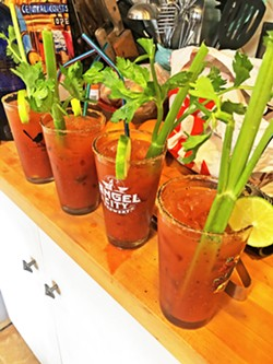 GOOD MORNING Just as we would have done at the actual Live Oak Music Festival, our Saturday morning began with a round of bloody marys. - PHOTO BY GLEN STARKEY