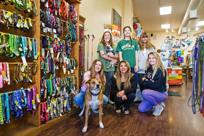 RUFF LIFE Left to right: Madi Erickson, Tails Pet Boutique owner Shelley Stuckey, and Lilli Sanders (front row); Raegan Gage, Rhona Haworth, and Chloe Stuckey (back row); and dogs Stella, Sush, and Shefoo hang out at the Best Place to Pamper Your Pet. - PHOTO BY JAYSON MELLOM