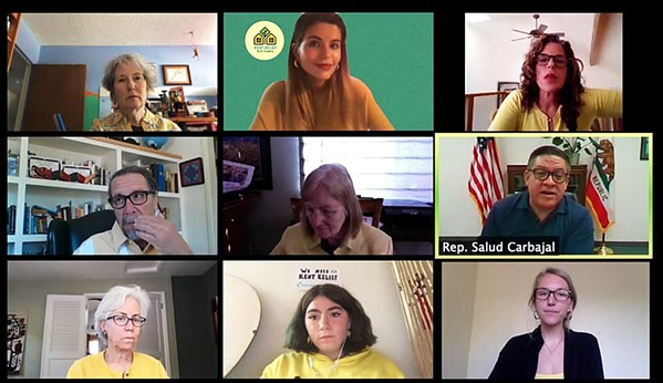 BAN EVICTIONS On May 12, several key members of SLO County's Rent Relief Coalition met with Rep. Salud Carbajal (D-Santa Barbara) in a Zoom meeting to discuss federal legislation. Now they're pushing for a local ban on evictions. - SCREENSHOT FROM FACEBOOK