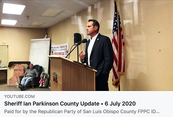 """DIVIDED During a recent talk at a North County Tea Party meeting, SLO County Sheriff Ian Parkinson makes comments on masks contradicting local mandates and claims he doesn't understand the """"end goal"""" of recent protests. - SCREENSHOT FROM YOUTUBE.COM"""