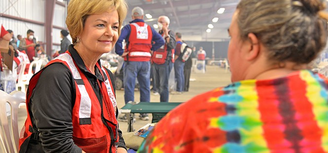Disaster responders: Red Cross volunteers give their time to help others caught up in the worst crisis of their lives