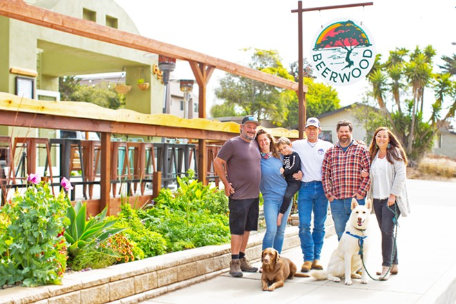 TEAM BEERWOOD (left to right) Alex Flores, Annie Steinmann, Blake Lohman, Troy Gatchell, and Liana Harlan breathed new life into a community gathering spot on Santa Maria Avenue in Baywood.