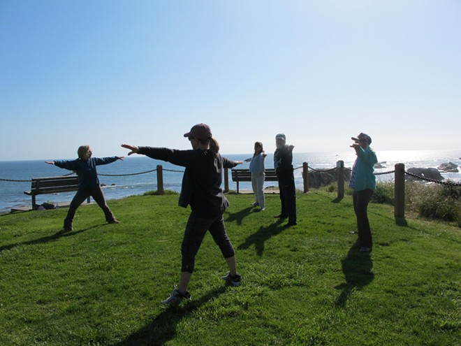 Qi Gong Class Heads to the Cliffs Above the Beach on Nice Days!