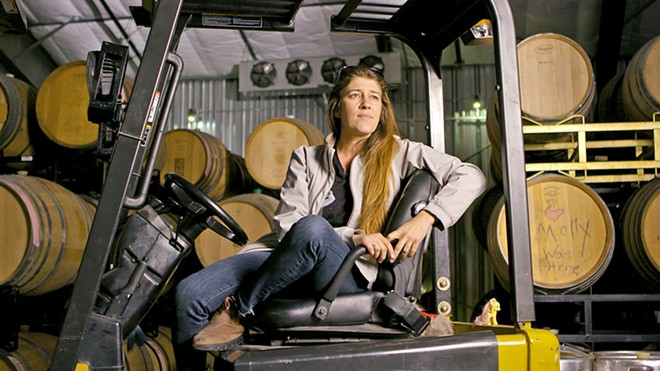 BORROWING FORKLIFTS Vailia Esh, owner and winemaker of Desparada Wines, talks to filmmaker Dina Mande about how the winemaking community in Tin City sometimes ends up sharing equipment.