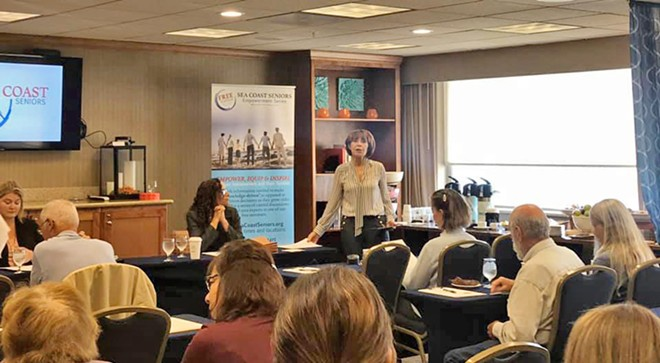 SMART RETIREMENT Real estate agent Nancy Puder, standing, speaks during a Sea Coast Seniors seminar last year. The popular monthly series on aging is back in 2020.