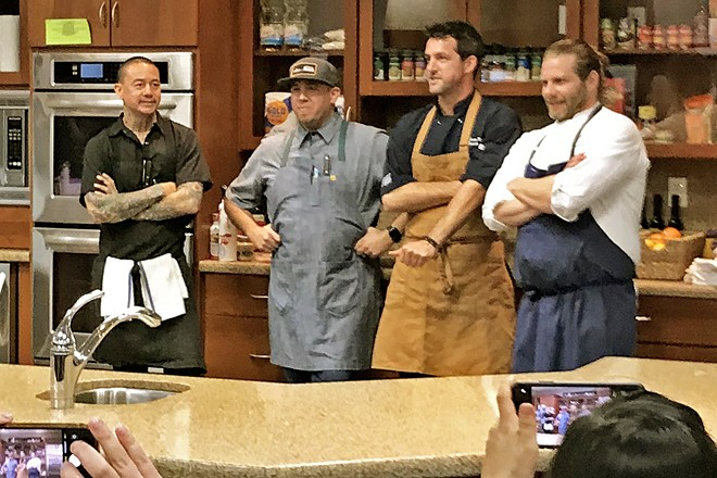 THE FOUR TOPS Chosen from our growing pool of amazing chefs, these four entertained the public with their super culinary skills and charming anecdotes at this year's Chef Showdown. From left are Libry Darusman of Thomas Hill Organics; Will Torres of Farmhouse Corner Market in SLO; James King of Somerset Grill in Pismo Beach; and Julien Asseo of Les Petites Canailles of Paso Robles.