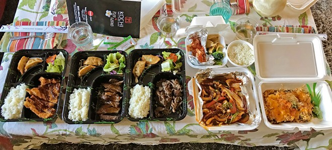 "WHAT'S IN YOUR FRIDGE? Kochi takeout night may be added to our occasional (now more frequent while sheltering at home) ""dinner and a show"" night: We put a tablecloth on our coffee table and eat in the living room with an agreed-upon movie. Most recently we watched National Geographic's A Cheetah Story. Spoiler alert: Predator scenes are not dinner-friendly."